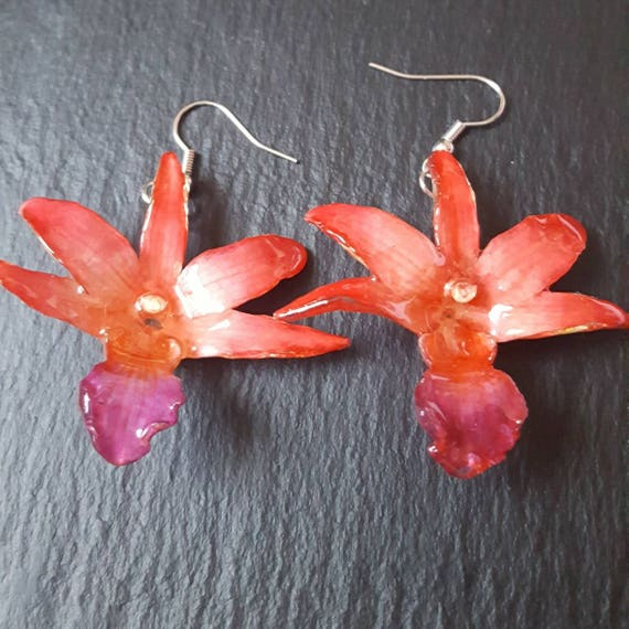 Real Orchid Draconis Flower earrings in red and purple