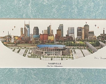 NASHVILLE CITYSCAPES LITHOS Pen & Ink Watercolors by Phil Ponder   Choice of 3 Paintings   Double Matted Ready to Frame