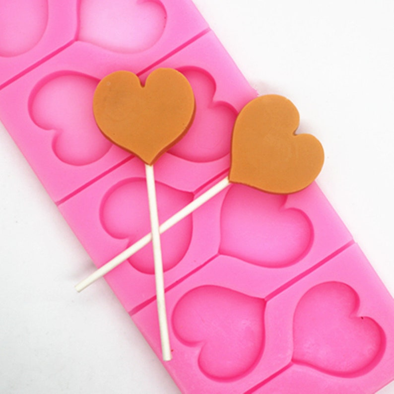 8-Heart Lollipop Molds Chocolate Mould Flexible Silicone Mold For Handmade  Soap Candy Candle Mold Cake Fimo Resin Crafts