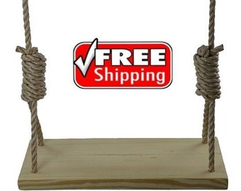 Southern Pine 22 Inch 4 Hole Wood Tree Swing - for Kids & Adults Garden Patio Outdoor Wooden Rope