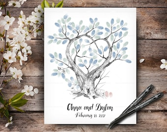 Wedding Guestbook Tree, 100% Hand Drawn Fingerprint Tree, Custom Alternative Wedding Guest Book, Wedding Keepsake, Handlettered Font