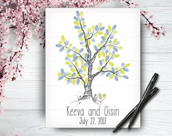 Fingerprint Wedding Tree, Alternative Wedding Guest Book, Wedding Hand Drawn Guestbook Tree, Wedding Keepsake, Handwritten Font