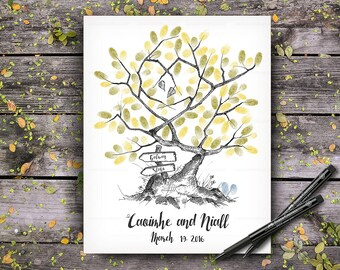 Original 100% Hand-Drawn Fingerprint Tree, Wedding Guestbook Tree, Alternative Wedding Guest Book, Wedding Keepsake, Hand Lettered Font