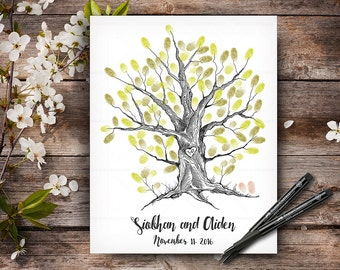 Wedding Guestbook Tree, Custom Hand Drawn Fingerprint Tree, Alternative Wedding Guest Book, Wedding Keepsake, Handlettered Font
