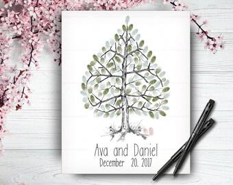 Alternative Wedding Guest Book Tree, Wedding Guestbook, Custom Hand Drawn Fingerprint Tree, Wedding Keepsake, Original Handlettered Font