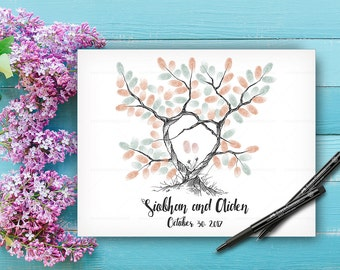 Alternative Wedding Guest Book Tree, Wedding Keepsake, Custom Hand Drawn Fingerprint Tree, Wedding Guestbook, Original Handlettered Font