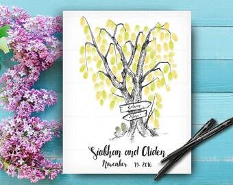 Wedding Guestbook Tree, Original Hand Drawn Fingerprint Tree of Life, Alternative Wedding Guest Book, Hand Lettered Font, Wedding Keepsake