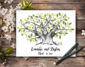 Original Hand-Drawn Fingerprint Tree, Wedding Guestbook Tree, Alternative Wedding Guest Book, Wedding Keepsake, Hand Lettered Font