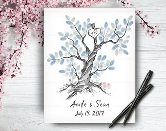 Original 100% Hand-Drawn Fingerprint Tree, Wedding Guestbook Tree, Alternative Wedding Guest Book, Wedding Keepsake, Handlettered Font
