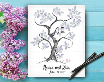 Alternative Wedding Guest Book Tree, Custom Hand Drawn Fingerprint Tree, Wedding Keepsake, Wedding Guestbook, Original Handlettered Font