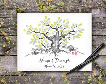 Wedding Guestbook Tree, Wedding Keepsake, Original Custom Hand Drawn Fingerprint Tree, Alternative Wedding Guest Book, Handlettered Font