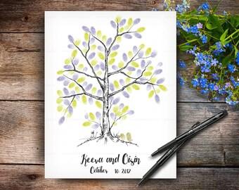 Fingerprint Wedding Tree, Wedding Hand Drawn Guestbook Tree, Alternative Wedding Guest Book, Wedding Keepsake, Handwritten Font