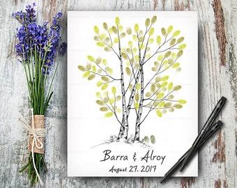 Wedding Hand Drawn Guestbook Tree, Alternative Wedding Guest Book, Wedding  Fingerprint Tree, Wedding Keepsake, Hand Lettered Font