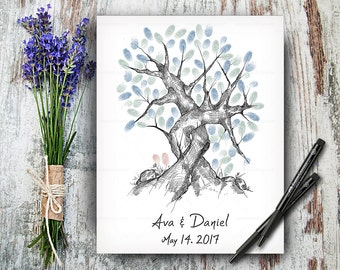 100% Hand Drawn Fingerprint Tree, Wedding Guestbook Tree, Alternative Wedding Guest Book, Wedding Keepsake, Hand Lettered Calligraphic Font
