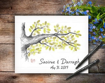 Wedding Guestbook Tree, Wedding Keepsake, Custom Hand Drawn Fingerprint Tree, Alternative Wedding Guest Book, Handlettered Font