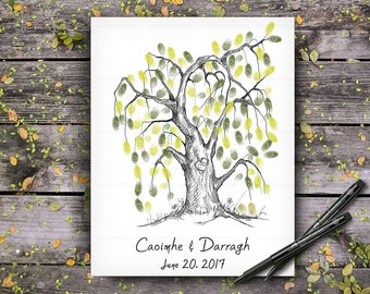 Alternative Wedding Guest Book, Wedding Guestbook Tree, Custom Hand Drawn Fingerprint Tree, Wedding Keepsake, Original Handlettered Font