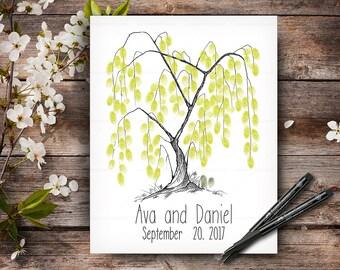 Fingerprint Wedding Tree, Alternative Persolaised Wedding Guest Book, Wedding Hand Drawn Guestbook Tree, Wedding Keepsake, Handwritten Font