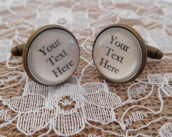 Personalised Cufflinks ANY TEXT ADDED- personalised gift for him groom gift custom cuff links custom cufflinks silver bronze custom gift