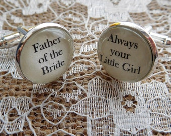 Father of the Bride Cufflinks - various text options available. Father of the Bride gifts, wedding cuff links, wedding cufflinks