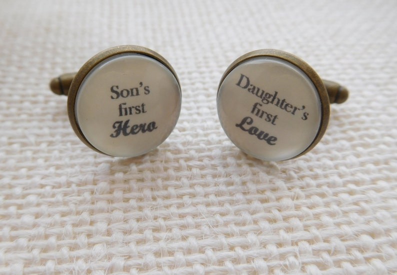 Daughter/'s first love/' cufflinks.Great Birthday Father/'s Day or Christmas gift for dad Dad gift from children. Handmade /'Son/'s first Hero