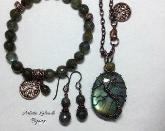 Labradorite, Tree of Life, copper, pendant.