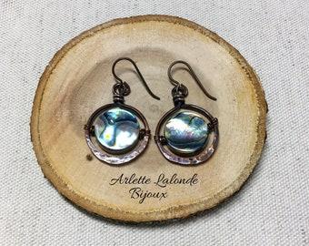Earrings, Paua Shell, copper.
