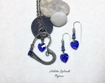 Crystal heart. Silver heart, Swarovski heart, hand-woven.
