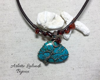 Tree of life, Azurite, natural stone, copper, Amber, unique piece.