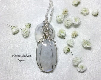 Moonstone, Natural Stone, Silver Wire.