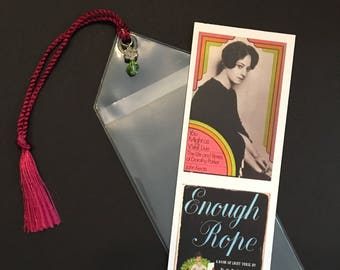 Dorothy Parker Bookmark Unique Design in Plastic sleeve with Tassel and Bead
