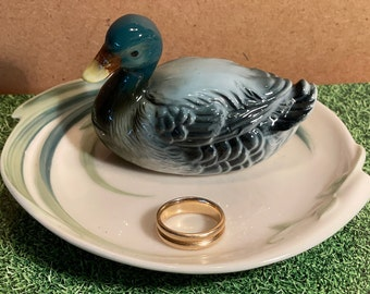 Vintage Brass Duck Trinket Dish Catchall Jewelry Loose Change Earring Holder Ring Catcher