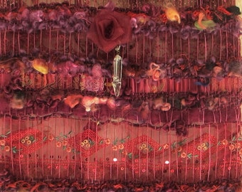 """Long purple woven wall hanging """"La Sophistiquée"""", mixed composition of lace, satin, wool, linen, roses and pendants, cottagecore wall art"""