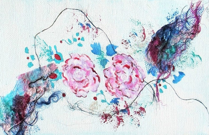 Small canvas 55  x 87  abstract flowers image 0