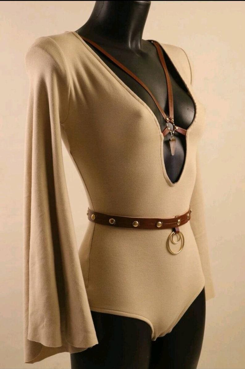 Organic Bodysuit long sleeves flare harness natural stone organic cotton lithotherapy leather vegan burning man Festival Gypsy boho