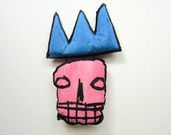 Sculpture funky Basquiat style urban doll design graffiti for living room wall hanging decorative art black artist textile NYC present king