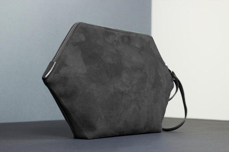 Vegan purse hexagon little bag black clutch minimalist image 0