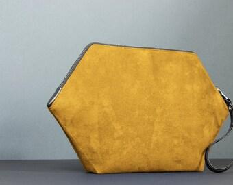 Minimalist purse: wristlet clutch, yellow handbag purse, handmade bag