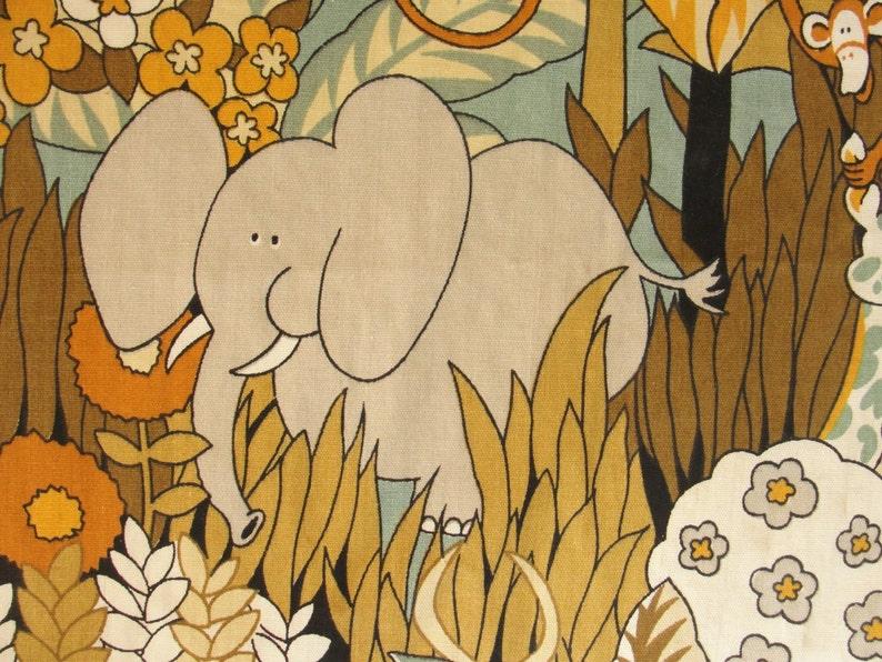 44 inches x 64 inches. Vintage Jungle Safari Drapery Fabric