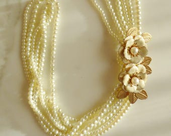 Faux pearl and Enamel Flower Necklace Vintage Multi Strand Necklace