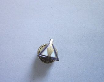 Antique Sterling Silver & Enameled Military Pinback