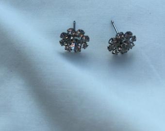 Vintage Cluster White Rhinestone Petite Pierced Earrings Studs