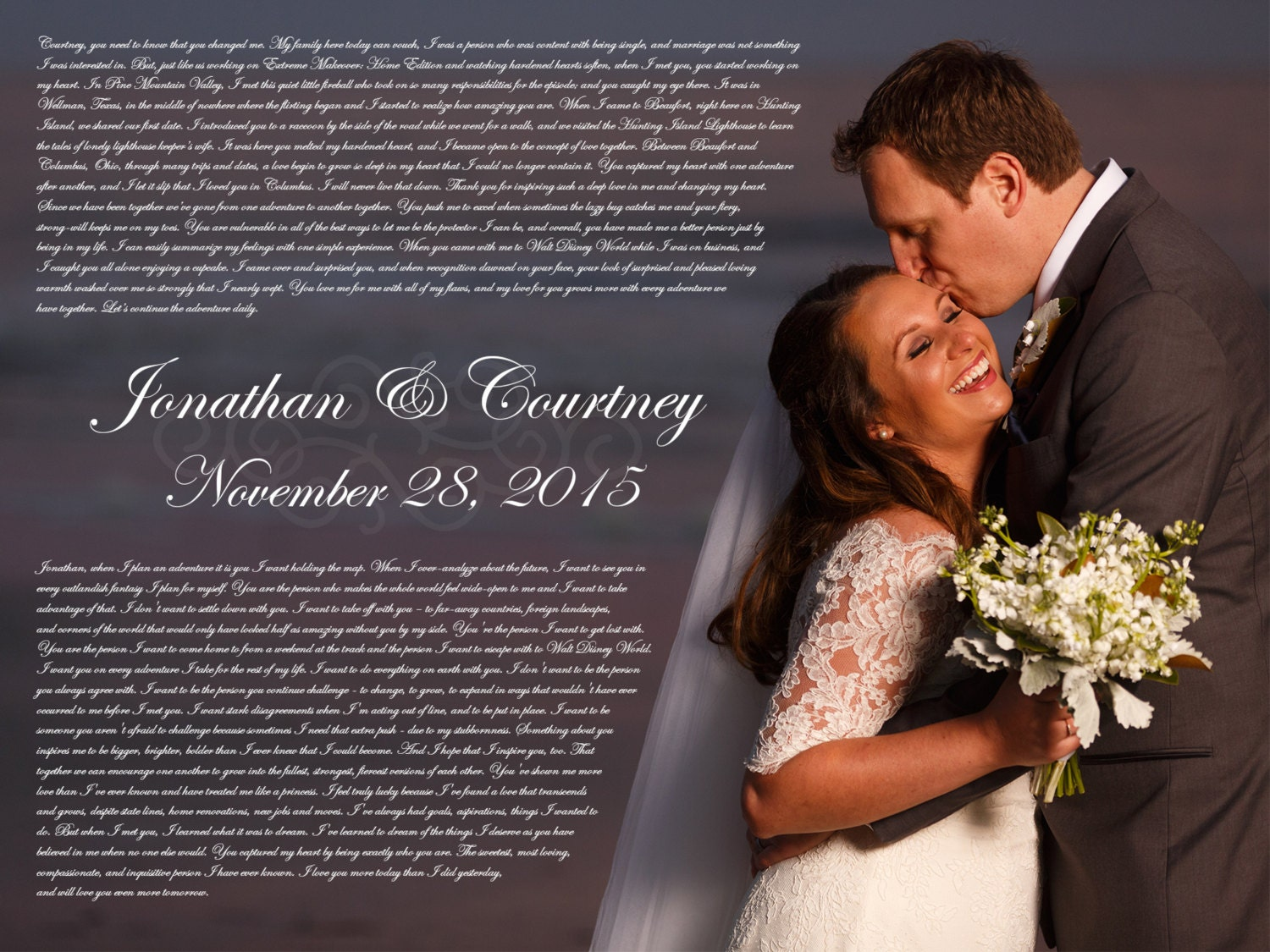 Wedding Day Gift For Wife: Valentines Gift For Wife Poster With Wedding Vows Or