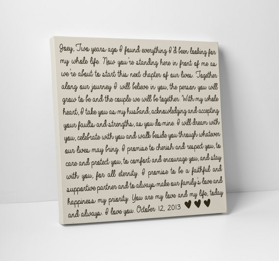 Wedding Vow Art Gift For Him Or Her Etsy