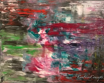 Colorful Chaotic Abstract Fine Art Giclee Print on Canvas Wall Art Wall Decor