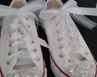 Custom Converse Sneakers, Unique Custom Sneakers, Custom Sneakers, Customized Converse Sneakers, Wedding Sneakers, Strass Shoes, Bling Shoes