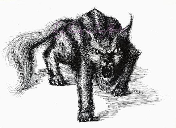 Arte A4 Fine Liner Lápiz Dibujo Gato Monstruo Al Etsy