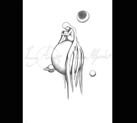 Disegno A Matita Fine Art A4 Grafite Miss Pianeta Etsy