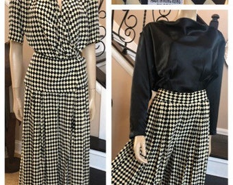 ON SALE  Vintage Suit by Evan Picone in  Black /& White Check Size 12