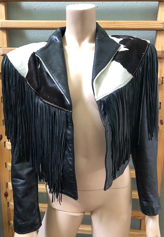 Awesome Fringe Black and White Leather Western Cro