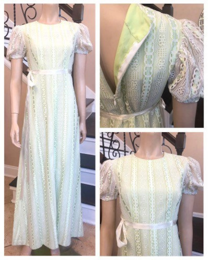 Beautiful Vintage 70s Lime Green and White Lace Floor Length Dress  Small